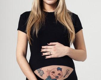 SKULL BOY Tattoo Maternity Shirt, Funny Maternity Shirt, Maternity Clothes, Pregnancy Clothes, Pregnant Woman Tee, Halloween Maternity Shirt