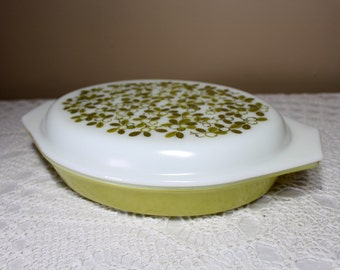 Vintage Pyrex Verde Divided Casserole with Lid