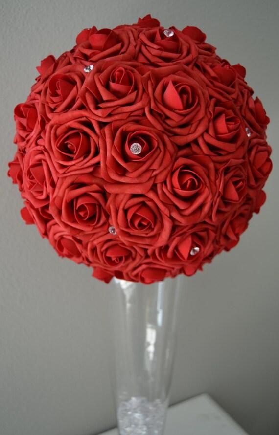 Red flower ball with diamond rhinestone gems by kimeekouture
