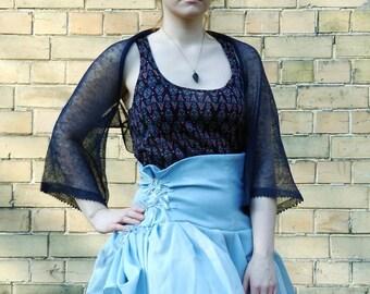 Navy Linen Bolero Blue Wedding Shrug Bridesmaid Bolero Summer Linen knits Blue Cover Up Half sleeve Bolero Linen Shrug Summer wedding bolero