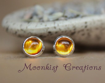 Golden Amber Stud Earrings in Sterling - Silver Amber Gemstone Post Earrings - Petite Amber Modern Bezel Set Stud Earrings