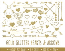 Gold Glitter Hearts and Arrows Clip Art Set.  Hand Drawn Doodle Arrows and Hearts.  Tribal Gold Glitter Arrow.