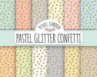 Gold Glitter Confetti Digital Paper Pack. Pastel and Glitter Polka Dot Scrapbooking Paper. Mint and  Gold Glitter Paper.