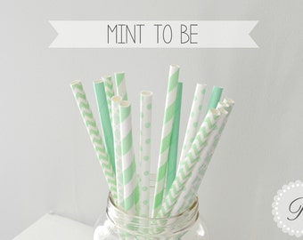 MINT TO BE Paper Straws // Polka Dots - Solid - Chevron - Damask - Stripe // 5 Designs // Baby Shower // Wedding // Party