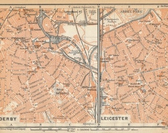 1910 Derby and Leicester United Kingdom (Great Britain) Antique map