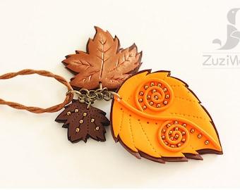 Orange Leaf Necklace, Maple Leaf Necklace, Orange Necklace, Brown Necklace