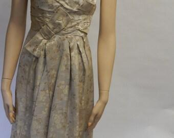 Asian inspired cream silk dress/ Cotillion formal / short dress