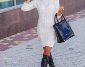 White dress, Autumn winter dress. Dress long sleeves , Knited dress.