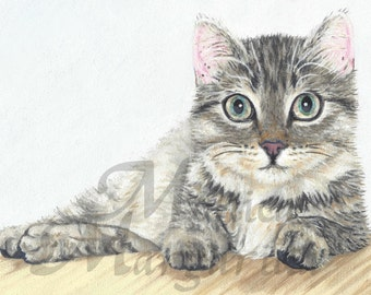 Kitten Art Print, Kitten Oil Painting, Cat Illustration, Animal Portrait, Kitten Painting, Kitten Illustration, Cat Painting, Kitten Poster