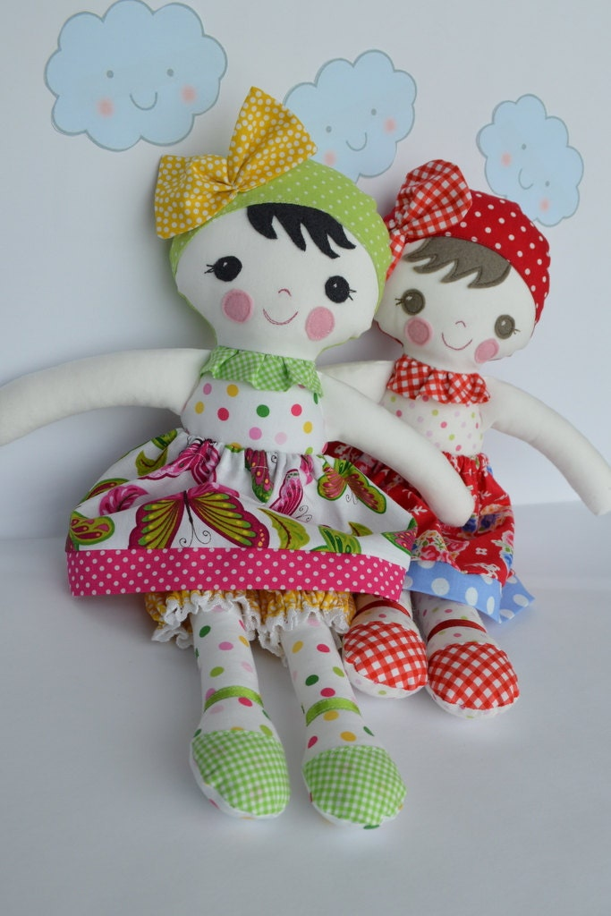 Soft Toy Patterns : Pdf sewing pattern doll soft toy dressed leah