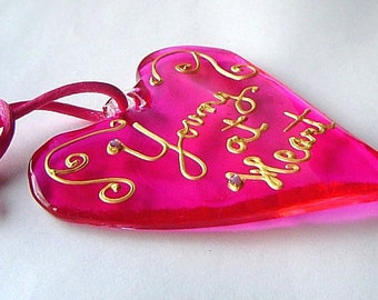 Hot Pink Glass Heart 'Young At Heart'