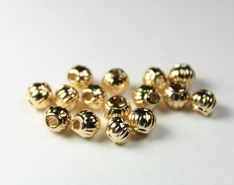 50 18K Gold plate Copper Corrugated Round Beads, 5mm, D-003