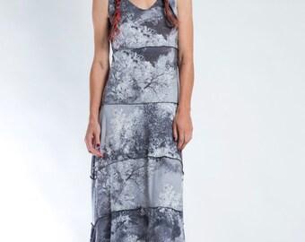 Gray Maxi Dress, Straight Dress, Wearable Art Dress, Extravagant Dress, Boho Style, Garden Party Dress, Chic Maxi Dress, Gray Dress
