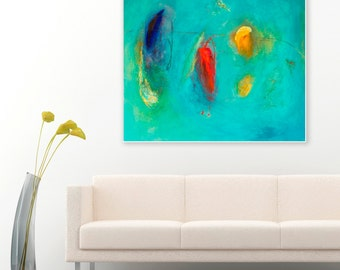 "LARGE ABSTRACT PRINT, minimalist painting, Modern Art Giclee print, wall art print, canvas art red, blue, turquoise abstract print  ""Nebula"""
