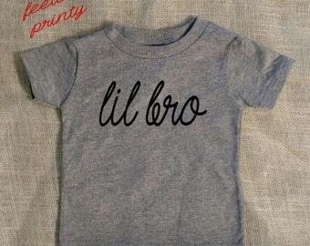 SALE gray lil bro Shirt Little Brother Shirt Boys Shirt New Brother grey shirt