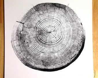 Tree Stump Tree Rings Screen Print 11x14
