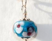 Handmade Silver Plated Turquoise Blue Watercolour Flowers Lampwork Glass Bead Pendant