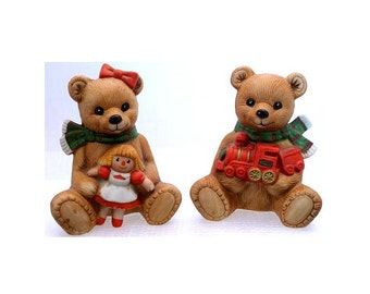 Holiday teddy bears figurines 1980s homco home interiors collectables