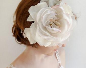 bridal headpiece, wedding hairpiece, flower crown wedding, peony headband, blush hair accessory, silk and organza, large flower crown