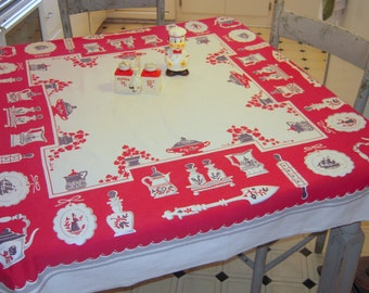 Vintage Tablecloth Americana Red Kitchen Teapots & Pitchers