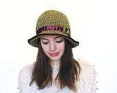 Cloche Hat in Green Wool, Bucket Hat-Crochet Hat in Green, Red Cloche Hat, Green Wool Hat, Green Fedora