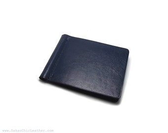Midnight Blue Leather Money Clip, Personalized or Plain Leather Money Clip, Minimalist Leather