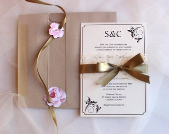 Gold Lace Invitations / Flourish Wedding Invitation / Monogram Invite / Vintage Wedding Invitations / Sarah Lace Invite Sample