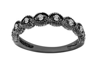 Diamond Wedding Band, Wedding Ring Vintage Style 14K Black Gold Antique Style Engraved 0.11 Carat