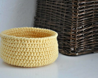 Small Yellow Basket Catchall Storage Bin Modern Rustic Home Decor Dorm Decor Back to School