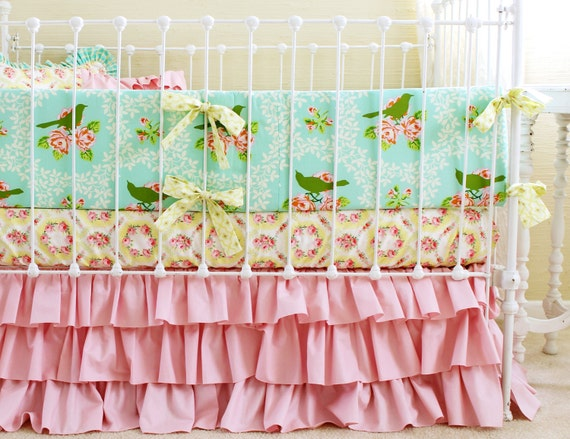 Baby Girl Ruffle Crib Bedding Turquoise And Pink By