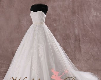 Gorgeous Lace Ballgown Wedding Dress Soft Sweetheart Bridal Gown