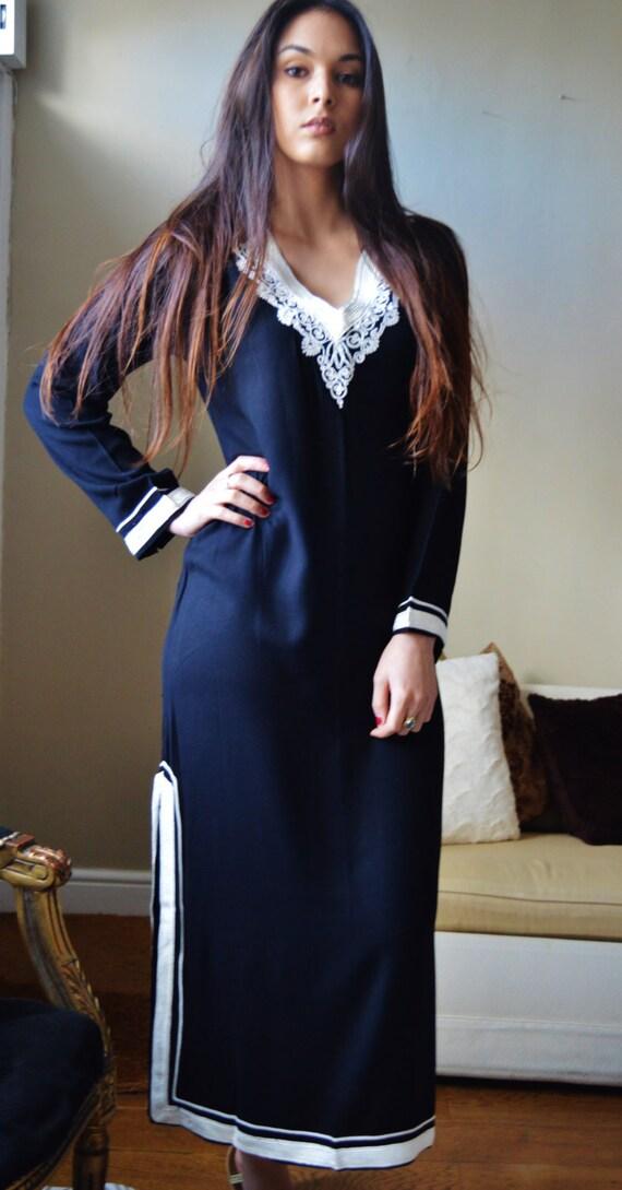 Leila Black Bohemian Caftan Kaftan -loungewear,resortwear, for Mothers day gift, Birthdays or Maternity Gifts