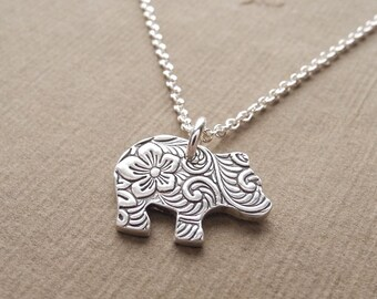 Tiny Bear Cub Necklace, Flowered Grizzly Bear Cub, Baby Bear, Fine Silver, Sterling Silver Chain, Made To Order