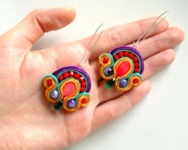 Embroidered soutache earrings.Bead embroidery.Soutache jewellery.Green Red Purple Orange. Swarovski crystals.