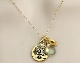 Tree of Life Necklace, Birthstone Necklace, Initial Necklace, Personalized Necklace, Mothers Necklace, Mom Necklace, Sister Necklace, Dainty