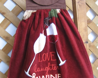"Wine Theme Kitchen Tea Towel ""Love Laughter & Wine"" Theme Kitchen Hanging Dish Towel Kitchen Towels SnowNoseCrafts"