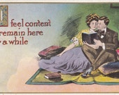 I Feel Content To Remain Here For A While- 1900s Antique Postcard- Edwardian Romance- Old Art Comic- Couple Reading Book- Paper Ephemera