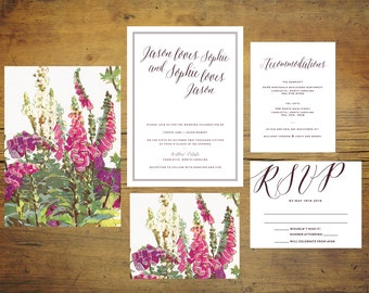 Wild Flower Wedding Invitation Suite (Set of 25) | Wedding Invitation Set, Custom Wedding, Pink Wedding Invitations, Floral Invitations