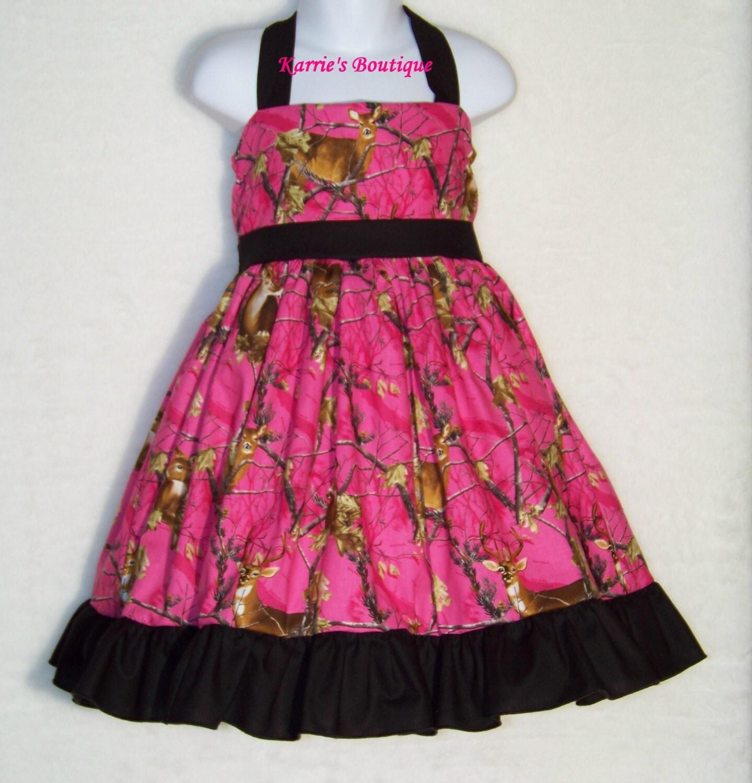 camo halter dress hot pink flower girl wedding