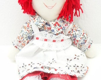cloth rag doll redheaded rag doll handmade red white and blue cute as a button hand made rag dolls ragdoll NF190