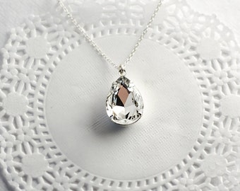 Crystal Teardrop Necklace | Bridal Jewelry Sterling Silver Necklace | Estate Style Jewelry | Clear Pendant Necklace | Pear Shaped Jewel