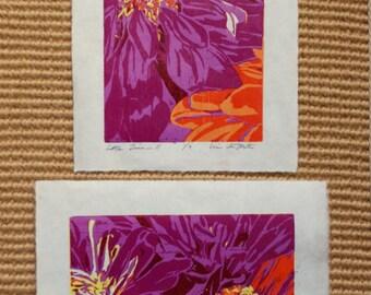 Little Zinnias, SET of handmade original woodblock prints