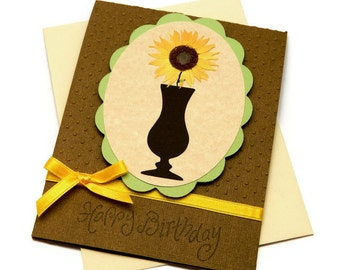 Bday Cards For Woman - Happy Birthday Her - Mom Birthday Card - Best Friend Birthday - Sunflowers - Floral Card Messages - Greetings Cards