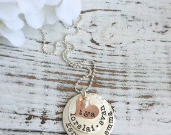 Family Necklace . Mother Necklace . Personalized Necklaces . Personalized Family Necklace . Mothers Day Necklace . Personalized Jewelry