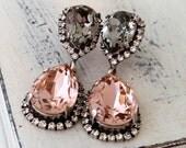 Blush gray chandelier earrings,blush pink gray Chandelier earrings,Bridal earrings,Bridesmaids gift,Dangle earrings,Drop ,Swarovski crystal