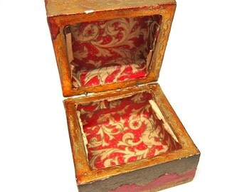 Vintage Box Small Decoupage Box Rust Gold Moroccan