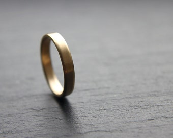3mm wedding ring in recycled 9ct yellow gold, flat profile, brushed finish - made to order
