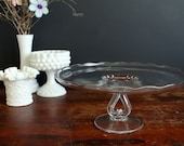 Vintage Glass Cake Pedestal Etched Wheat Pattern Pastry Stand