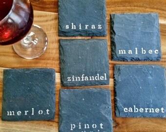 Modern Red Wine Slate Coasters (Set of 4 or 6) Pinot Noir, Merlot, Shiraz, Cabernet, Malbec, Zinfandel