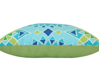 Blue Trina Turk Soleil LA Sunburst Outdoor Pillow Cover with Lime Green Backing